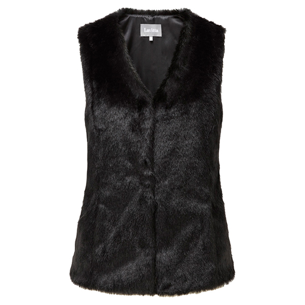 Lavitta Fake Fur Gilet 25in Black