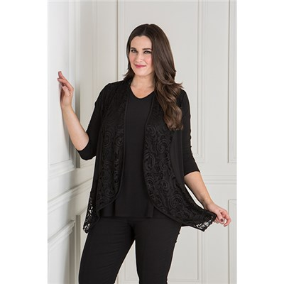 Nicole Lace Jacket with Short Sleeve Top
