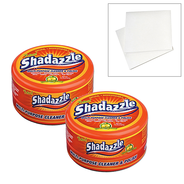 Two Tubs of Shadazzle with FREE Set of 2 No Streak Cloths No Colour