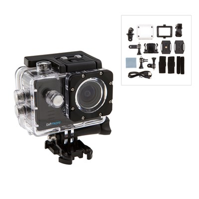 Bitmore 4K Ultra HD Action Camera, Waterproof case, Handle Bar Mount, Velcro Straps, Belt Mount, Cable Ties, Adhesive Mounts, Microfibre Clothette