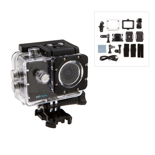 Bitmore 4K Ultra HD Action Camera, Waterproof case, Handle Bar Mount, Velcro Straps, Belt Mount, Cable Ties, Adhesive Mounts, Microfibre Clothette No Colour