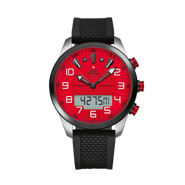 Swiss Military by Chrono Gent's Chronograph Watch with Silicone Strap Red