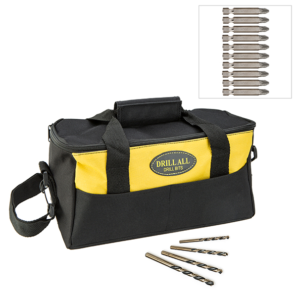 Image of 10 Diamond Tipped Screwdriver Bits 4 Piece Reverse Action Drill Set and Bag 438518