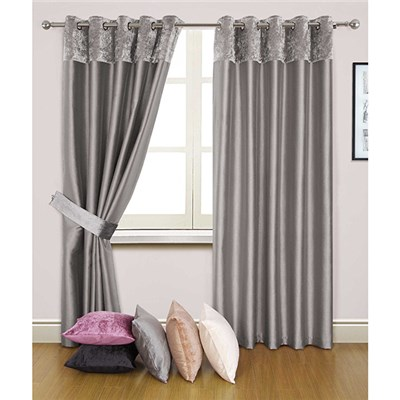 Velvet Border (90 inches x) Faux Silk Lined Ring Top Curtains