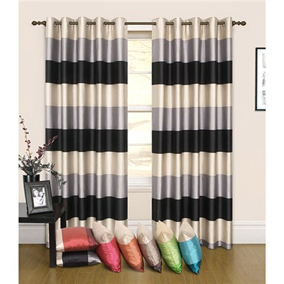 Rio Stripe (90 inches x) Faux Silk Lined Ring Top Curtains