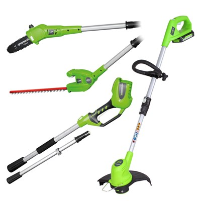 Greenworks 24V Long Reach Cordless Pole Saw, Hedge Cutter and Line Trimmer