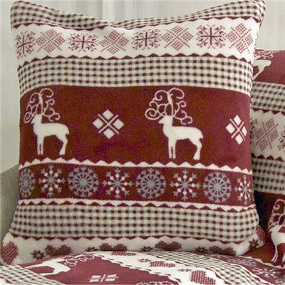 Reindeer Print Super Soft Fleece Cushion Twin Pack