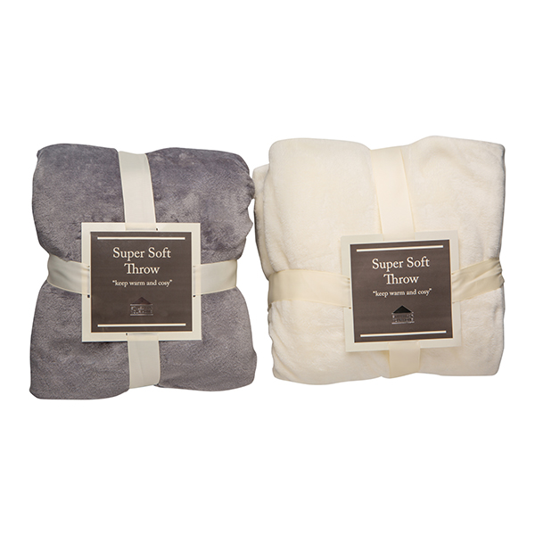 Twin Pack Super Soft Throw 150 x 200cm Grey/Cream