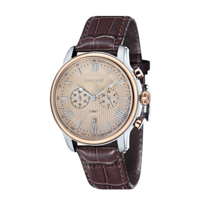 Thomas Earnshaw Gent's Longitude Chronograph Watch with Genuine Leather Strap