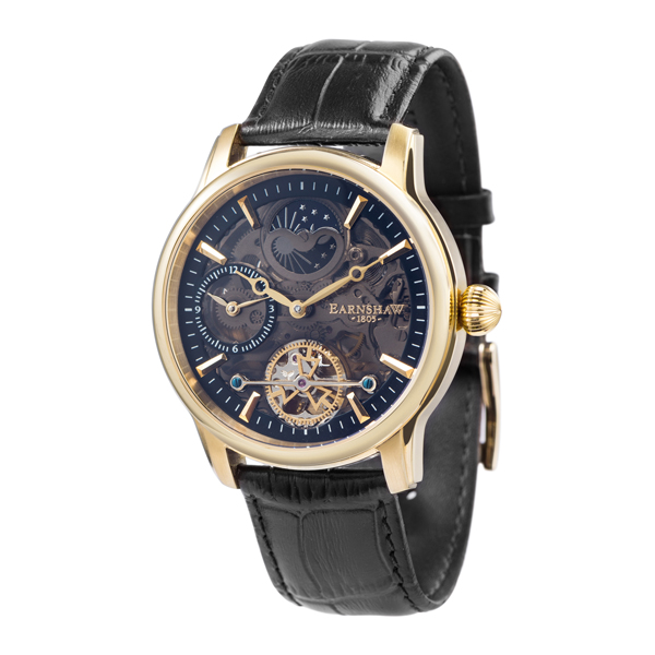 Thomas Earnshaw Gent's Longitude Shadow Automatic Watch with Genuine Leather Strap Gold