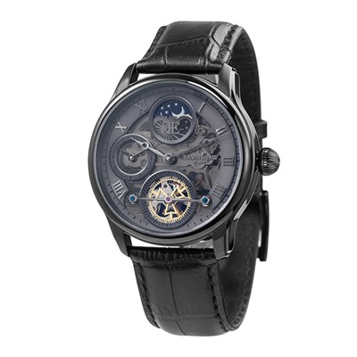 Thomas Earnshaw Gent's Longitude Shadow Automatic Watch with Genuine Leather Strap