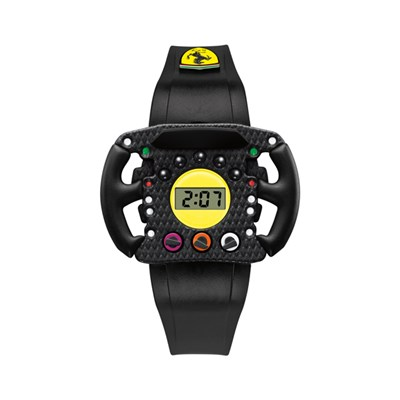 Scuderia Ferrari Kids Digital Watch with Black PVC Strap