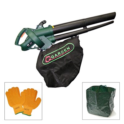 Q-Garden 2500W 3 in 1 Blower Shredder Vac with Garden Bag and Gloves