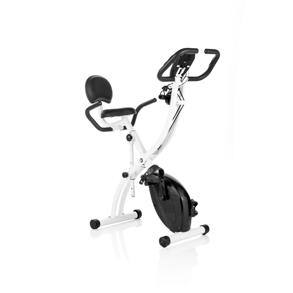 Total Tone Folding Exercise Bike with Pulse Sensors and Resistance Bands No Colour