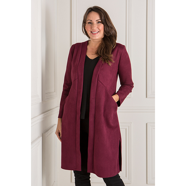 Nicole Faux Suede Duster Coat Wine