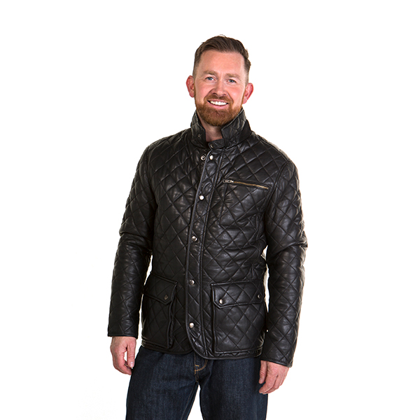 Woodland Leather Gent's Criss Cross Country Coat Black