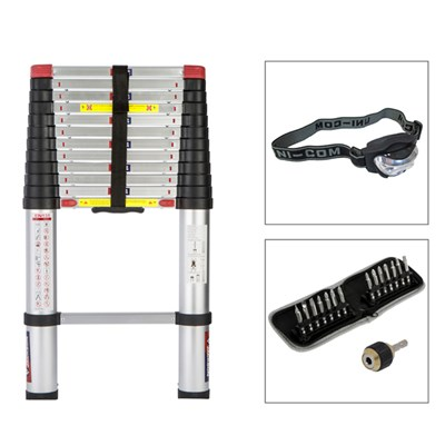 Spear and Jackson 3.8m Telescopic Ladder, Head Torch and Screwdriver Bits