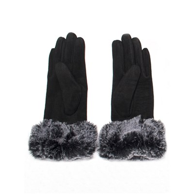 Faux Suede Gloves with Faux Fur Trim
