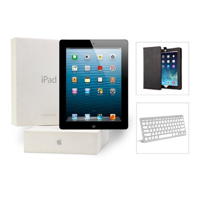 Apple iPad 3 64GB WiFi 3G (Certified Refurbished) with Bluetooth Keyboard and Leather-Effect Case