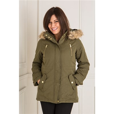 Hooded Dip Back Lined Parka Jacket with Detachable Faux Fur Trim