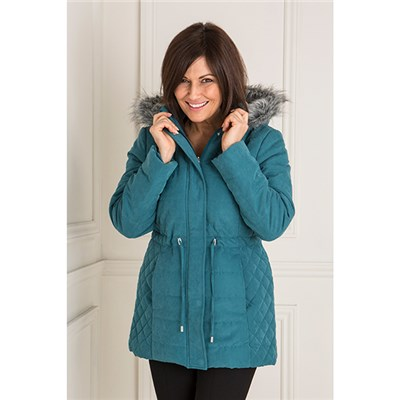 Luxury Hooded Teal Parka Jacket with Detachable Faux Fur Trim