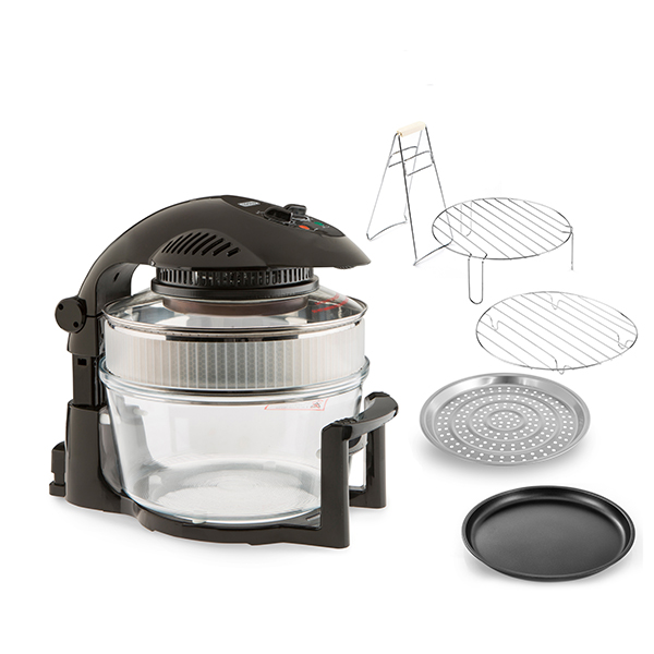 Cookshop 17L Halogen Oven with Hinged Lid Black