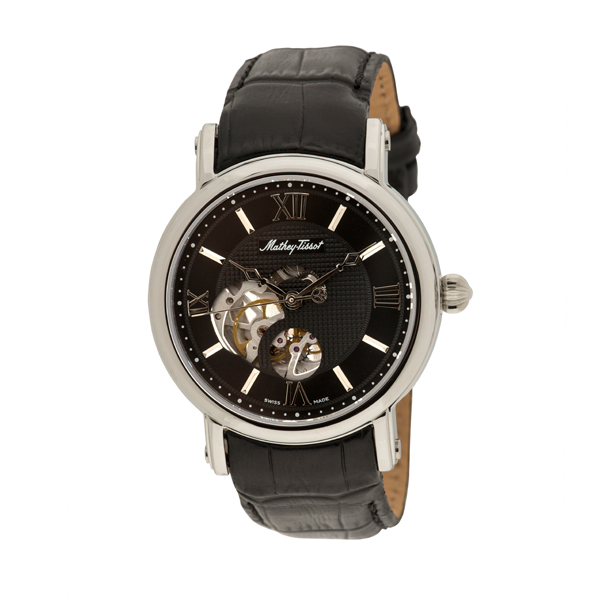 Mathey-Tissot Gent's Automatic Watch with Skeleton Dial and Genuine Leather Strap with Luxury Box Black