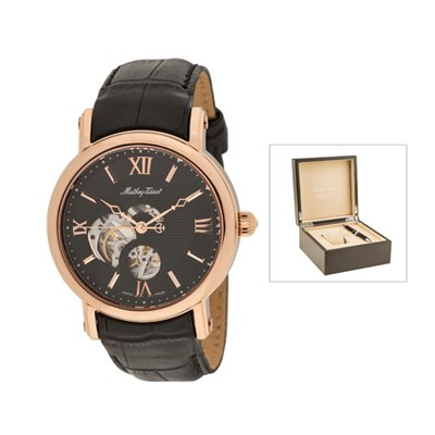Mathey-Tissot Automatic with Skeleton Dial, Leather Strap, Luxury Box and Pen