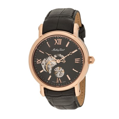 Mathey Tissot Gents Automatic Watch with Skeleton Dial, PVD Plated Case, Genuine Leather Strap