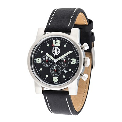 MG Gent's Chronograph Watch with Genuine Leather Strap