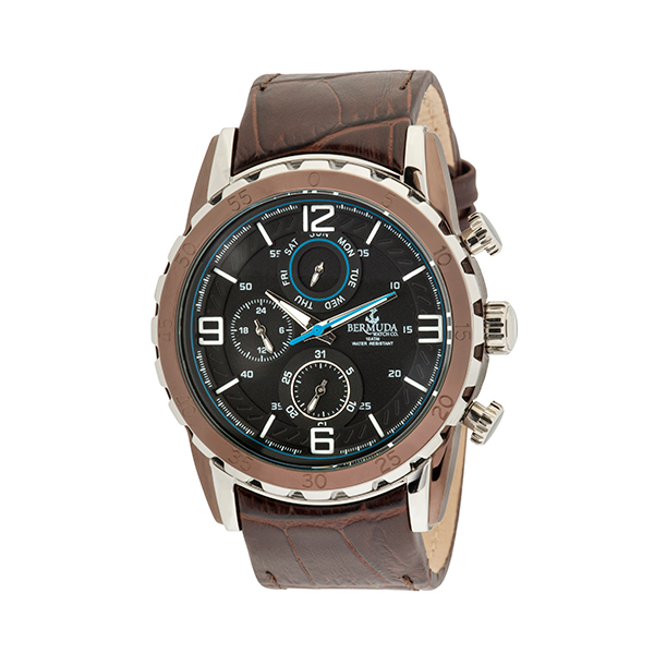 Bermuda Gent's Multi Function Watch with Genuine Leather Strap Brown