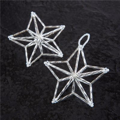 TotallyBeads Beads 3D Christmas Star Decoration Kit with Project Book - Makes 5