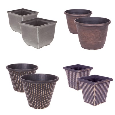 Festive Silver and Gold Planter Collection - 8 Pots