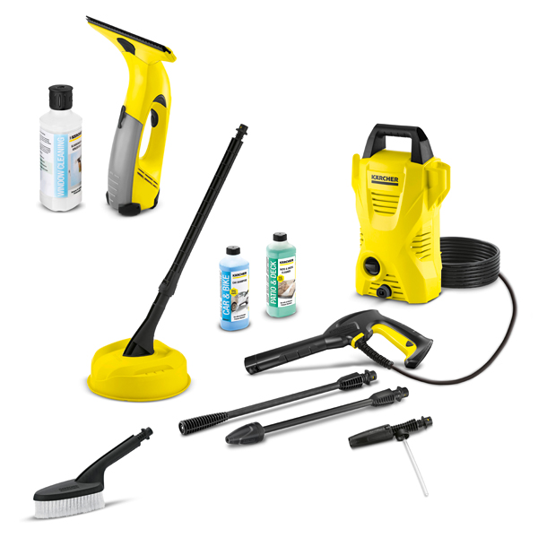Karcher K2 Compact Home & Car plus WV Easy Window Vacuum, Patio Cleaner & 3 x 500ml Detergents No Colour