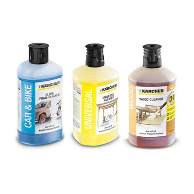 Karcher Triple Pack 3 x 1L Detergent - Ultra Foam, Universal Cleaner and Wood Cleaner.