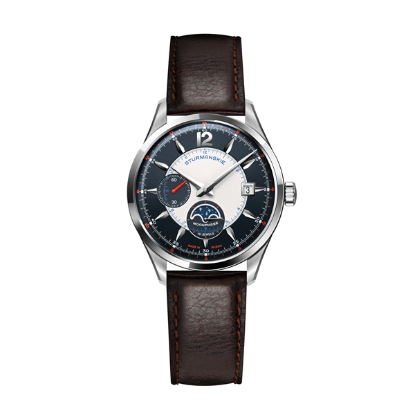 Sturmanskie Gent's Limited Edition Moonphase Watch with Genuine Leather Strap Black