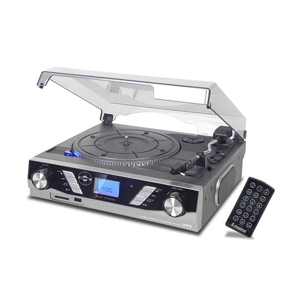 Steepletone ST930 Pro with 3 Speed Record Player with MP3 to USB-SD Recording Silver