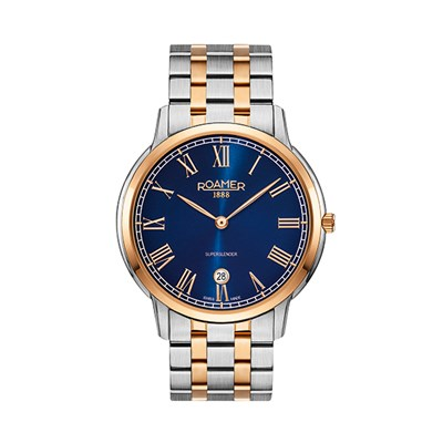 Roamer of Switzerland Gent's Superslender Watch with IP Plated Two Tone Stainless Steel Bracelet
