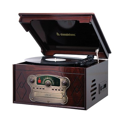 Steepletone Chichester III Compact Retro Music System with Remote Control, 3-speed Record Player, Radio and CD and Cassette Player