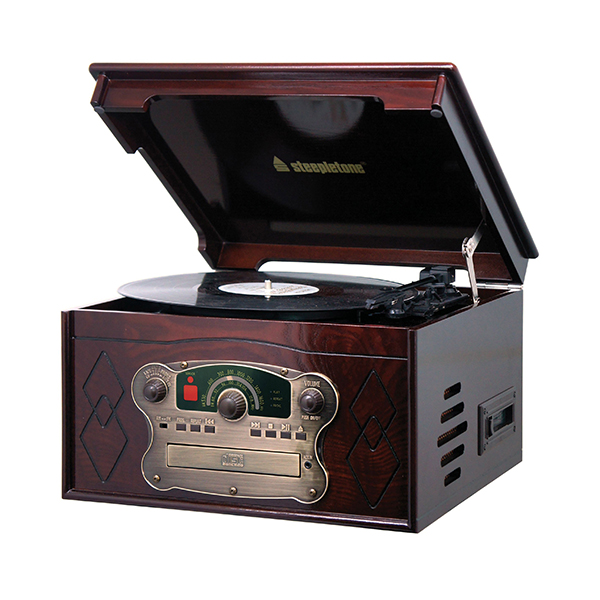 Steepletone Chichester III Compact Retro Music System with Remote Control, 3-speed Record Player, Radio and CD and Cassette Player Dark
