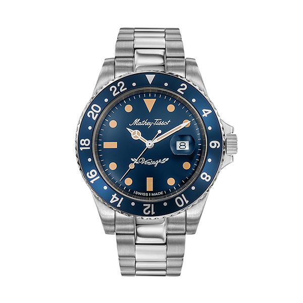 Mathey-Tissot Gent's Rolly Watch with Stainless Steel Bracelet Blue
