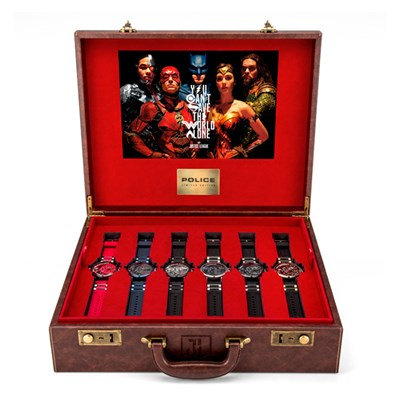 Police Justice League Limited Edition (to 500pcs) Watch Set with Leather Briefcase, Card Holder and Character Figurines