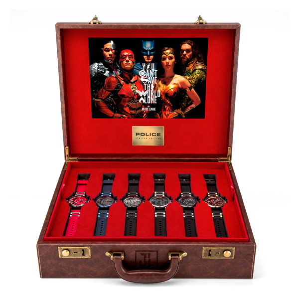 Police Justice League Limited Edition (to 500pcs) Watch Set with Leather Briefcase, Card Holder and Character Figurines No Colour