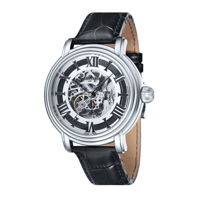 Thomas Earnshaw Gents Longcase Swiss Automatic Skeleton Dial Watch with Genuine Leather Strap