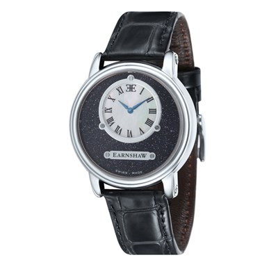 Thomas Earnshaw Gent's Lapidary Swiss Quartz Watch with Genuine Leather Strap