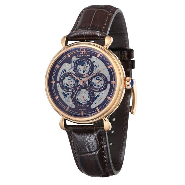Thomas Earnshaw Gent's Grand Calendar Automatic Watch with Genuine Leather Strap Rose Gold