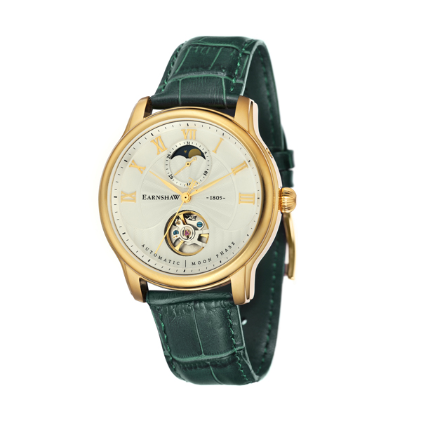 Thomas Earnshaw Gent's Longitude Automatic Moonphase and Genuine Leather Strap Green