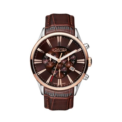 Roamer of Switzerland Gent's Superior Chronograph Watch with IP Plated Case and Genuine Leather Strap