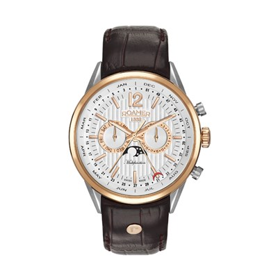 Roamer of Switzerland Gent's Superior Moonphase Watch with Genuine Leather Strap