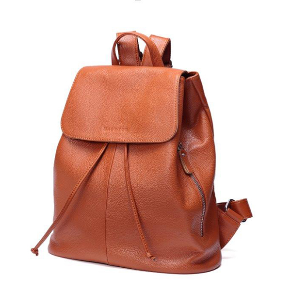 Woodland Leather Ladies' Rucksack Bag Tan